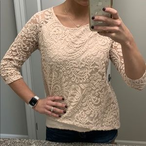 New York and Company pink lace top